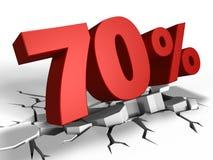 τρισδιάστατος της έκπτωσης 70 τοις εκατό Στοκ Φωτογραφία