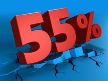 τρισδιάστατος της έκπτωσης 55 τοις εκατό Στοκ εικόνες με δικαίωμα ελεύθερης χρήσης