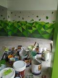 τρισδιάστατος τοίχος χώρων στάθμευσης ζωγραφικής στοκ εικόνες
