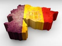 Τρισδιάστατος χάρτης της Ανδόρας κατασκευασμένος με μια σημαία της Ανδόρας απεικόνιση αποθεμάτων
