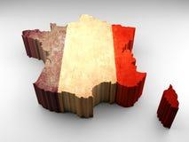 τρισδιάστατος χάρτης της Γαλλίας με τη γαλλική σημαία ελεύθερη απεικόνιση δικαιώματος