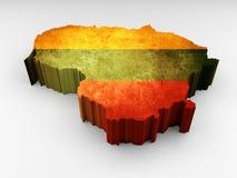 Τρισδιάστατος χάρτης της Λιθουανίας κατασκευασμένος με μια λιθουανική σημαία διανυσματική απεικόνιση