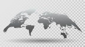 τρισδιάστατος χάρτης του κόσμου στο διαφανές υπόβαθρο Στοκ εικόνα με δικαίωμα ελεύθερης χρήσης