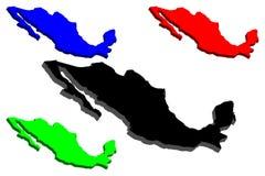 τρισδιάστατος χάρτης του Μεξικού ελεύθερη απεικόνιση δικαιώματος