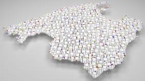 τρισδιάστατος χάρτης Majorca - της Ισπανίας απεικόνιση αποθεμάτων
