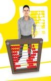 τρισδιάστατος χαρακτήρας, άτομο και ένας άβακας - κίτρινο υπόβαθρο ελεύθερη απεικόνιση δικαιώματος