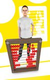 τρισδιάστατος χαρακτήρας, γυναίκα και ένας άβακας - κίτρινο υπόβαθρο ελεύθερη απεικόνιση δικαιώματος