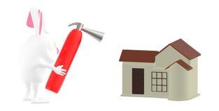 τρισδιάστατος χαρακτήρας, πυροσβεστήρας εκμετάλλευσης κουνελιών προς το σπίτι απεικόνιση αποθεμάτων