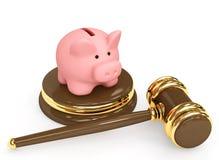 τρισδιάστατος gavel τραπεζών δικαστικός piggy απεικόνιση αποθεμάτων