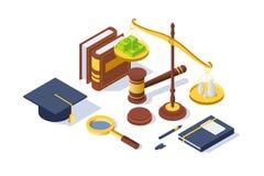 τρισδιάστατος isometric εξοπλισμός δικαιοσύνης με το σφυρί, μάνδρα, ισορροπία libra, βιβλίο διανυσματική απεικόνιση