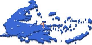 τρισδιάστατος isometric χάρτης άποψης της Ελλάδας με την μπλε επιφάνεια και των πόλεων Στοκ Εικόνες