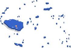 τρισδιάστατος isometric χάρτης άποψης των Φίτζι με την μπλε επιφάνεια και των πόλεων Στοκ Φωτογραφία