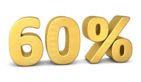 60 τρισδιάστατου τοις εκατό χρυσού συμβόλων διανυσματική απεικόνιση