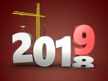τρισδιάστατο έτος του 2019 με το γερανό Στοκ εικόνα με δικαίωμα ελεύθερης χρήσης