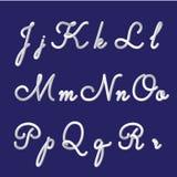 τρισδιάστατο αλφάβητο και πηγή που τίθενται με τα χειρόγραφα γράμματα j, Κ, λ, μ, ν, ο, π, q, ρ Σύγχρονος φουτουριστικός χαρακτήρ διανυσματική απεικόνιση
