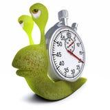 τρισδιάστατο αστείο ζωύφιο σαλιγκαριών κινούμενων σχεδίων που φέρνει ένα χρονόμετρο με διακόπτη Στοκ εικόνες με δικαίωμα ελεύθερης χρήσης