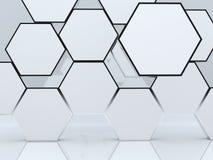 τρισδιάστατο αφηρημένο κενό hexagon παρουσίασης κιβωτίων Στοκ εικόνα με δικαίωμα ελεύθερης χρήσης
