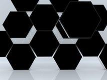 τρισδιάστατο αφηρημένο μαύρο κενό hexagon παρουσίασης κιβωτίων Στοκ Φωτογραφία