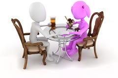τρισδιάστατο γεύμα εστιατορίων ζευγών ατόμων ελεύθερη απεικόνιση δικαιώματος