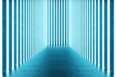 τρισδιάστατο δίνοντας αφηρημένο μπλε εσωτερικό δωματίων με τους μπλε λαμπτήρες νέου ανασκόπηση αρχιτεκτονικ Πρότυπο για το σας ελεύθερη απεικόνιση δικαιώματος