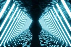 τρισδιάστατο δίνοντας αφηρημένο μπλε εσωτερικό δωματίων με τους μπλε λαμπτήρες νέου ανασκόπηση αρχιτεκτονικ Πρότυπο για το σας απεικόνιση αποθεμάτων