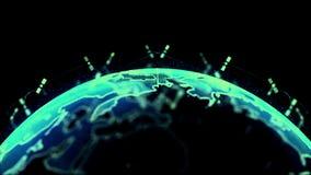 Τρισδιάστατο δίνοντας δίκτυο δορυφόρων Bstract starlink, ψηφιακή σφαίρα γήινων στοιχείων - σύνδεση ο κόσμος r ελεύθερη απεικόνιση δικαιώματος