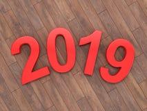 τρισδιάστατο δίνοντας το 2019 νέα κόκκινα ψηφία έτους ελεύθερη απεικόνιση δικαιώματος