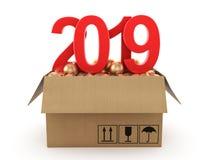 τρισδιάστατο δίνοντας το 2019 νέα κόκκινα ψηφία έτους διανυσματική απεικόνιση