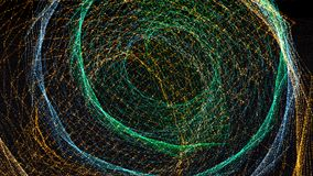 τρισδιάστατο δίνοντας υπόβαθρο με τις στριμμένες σειρές μορίων Σκοτεινό ψηφιακό αφηρημένο υπόβαθρο Στοκ Εικόνα