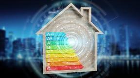 τρισδιάστατο διάγραμμα ενεργειακής εκτίμησης απόδοσης σε ένα ξύλινο σπίτι Στοκ φωτογραφία με δικαίωμα ελεύθερης χρήσης