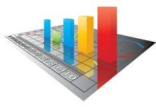 τρισδιάστατο διάνυσμα γραφικών παραστάσεων χρώματος ράβδων απεικόνιση αποθεμάτων