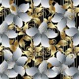 τρισδιάστατο διανυσματικό άνευ ραφής σχέδιο λουλουδιών Μαύρο ριγωτό floral backgro απεικόνιση αποθεμάτων