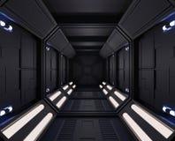 τρισδιάστατο διαστημόπλοιο απόδοσης σκοτεινό εσωτερικό με την άποψη, σήραγγα, μικρά φω'τα διαδρόμων ελεύθερη απεικόνιση δικαιώματος