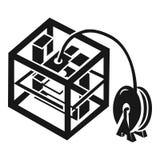 τρισδιάστατο εικονίδιο εργασίας εκτυπωτών, απλό ύφος απεικόνιση αποθεμάτων