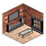 τρισδιάστατο εσωτερικό καθιστικό εικόνας διαμέρισμα σοφιτών με το τουβλότοιχο ελεύθερη απεικόνιση δικαιώματος