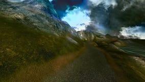 11 τρισδιάστατο ζωντανεψοντα πανοραμικό τοπίο, θάλασσα, mountainswith σκοτεινά κινούμενα σύννεφα απεικόνιση αποθεμάτων
