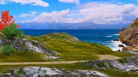 τρισδιάστατο ζωντανεψοντα τοπίο των βουνών και των δέντρων θάλασσας απεικόνιση αποθεμάτων