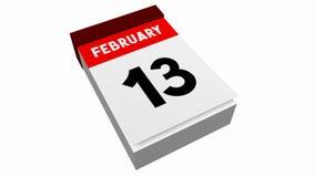 τρισδιάστατο ημερολόγιο - Φεβρουάριος απεικόνιση αποθεμάτων