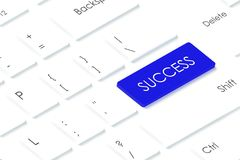 τρισδιάστατο κουμπί επιτυχίας απόδοσης αφηρημένο μπλε στο άσπρο πληκτρολόγιο, επιχειρησιακή επιτυχία Στοκ φωτογραφία με δικαίωμα ελεύθερης χρήσης