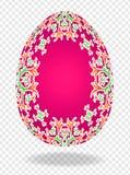 τρισδιάστατο κόκκινο κόκκινο αυγό Πάσχας με ένα σχέδιο των κρίνων και μια θέση για το κείμενο ή την εικόνα διανυσματική απεικόνιση