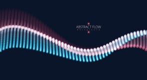 τρισδιάστατο κύμα σειράς πλέγματος μορίων, υγιής ροή Θολωμένος γύρω από τα φω'τα διανυσματική απεικόνιση επίδρασης διανυσματική απεικόνιση
