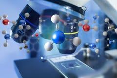 τρισδιάστατο μόριο απόδοσης επιδειγμένη σε μια ιατρική διεπαφή Στοκ Εικόνα