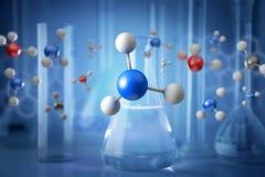 τρισδιάστατο μόριο απόδοσης επιδειγμένη σε μια ιατρική διεπαφή Στοκ φωτογραφίες με δικαίωμα ελεύθερης χρήσης