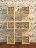 τρισδιάστατο ξύλινο ράφι βιβλίων Στοκ Εικόνα