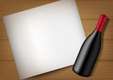 τρισδιάστατο πλαστό επάνω ρεαλιστικό μπουκάλι κρασιού, έγγραφο και ξύλινη απεικόνιση υποβάθρου ελεύθερη απεικόνιση δικαιώματος