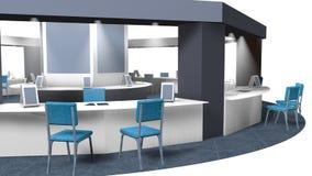 τρισδιάστατο πρότυπο ενός περίπτερου για τις πωλήσεις σε μια οκτάγωνη έκθεση με τις καρέκλες για τους πελάτες και τους προμηθευτέ στοκ φωτογραφίες με δικαίωμα ελεύθερης χρήσης