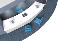 τρισδιάστατο πρότυπο ενός περίπτερου για τις πωλήσεις σε μια οκτάγωνη έκθεση με τις καρέκλες για τους πελάτες και τους προμηθευτέ στοκ φωτογραφία με δικαίωμα ελεύθερης χρήσης