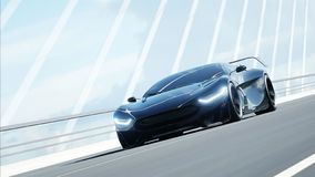 τρισδιάστατο πρότυπο του μαύρου φουτουριστικού αυτοκινήτου στη γέφυρα Πολύ γρήγορα οδηγώντας Έννοια του μέλλοντος r ελεύθερη απεικόνιση δικαιώματος