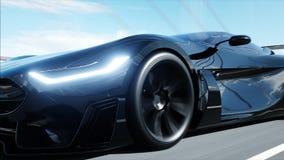 τρισδιάστατο πρότυπο του μαύρου φουτουριστικού αυτοκινήτου στη γέφυρα Πολύ γρήγορα οδηγώντας Έννοια του μέλλοντος r απεικόνιση αποθεμάτων