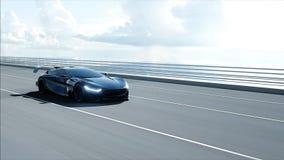 τρισδιάστατο πρότυπο του μαύρου φουτουριστικού αυτοκινήτου στη γέφυρα Πολύ γρήγορα οδηγώντας Έννοια του μέλλοντος r διανυσματική απεικόνιση